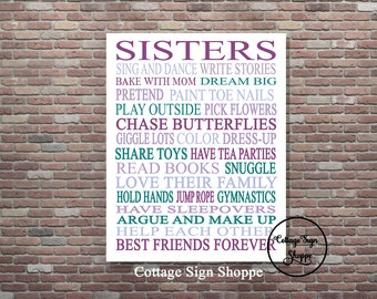 Sisters Printable Art, Sisters Wall Art, Instant DIGITAL, YOU PRINT, Sisters Sign, Sister Gift Ideas, Twin Sisters Wall Art, Sister Decor