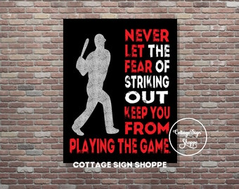 Never let the fear of striking out keep you from playing the game, Instant DOWNLOAD, YOU PRINT, Babe Ruth, Baseball Poster. Sports Poster