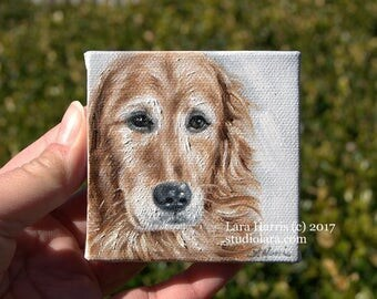 Itty Bitty Golden...Miniature Painting in OIL by LARA ACEO 3x3 Mini Tiny Dog Art Retriever
