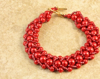Red Glass Pearl Flat Stitched Seed Bead Bracelet