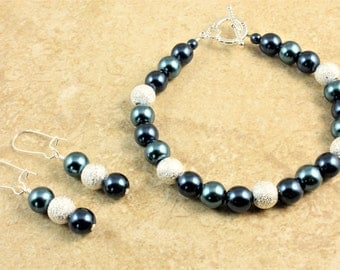 Sapphire Blue and Silver Glass Pearl Wedding Bracelet and Earrings Bridesmaid Bridal