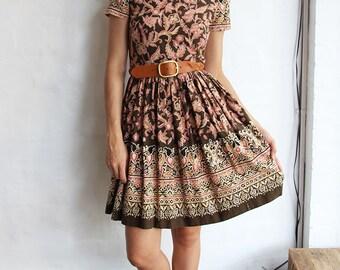 Vintage Batik 1950s Style Cotton Dress