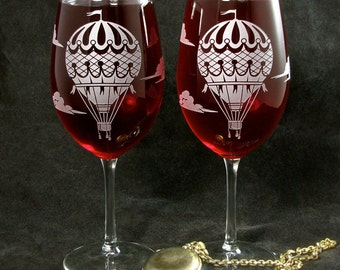 2 Hot Air Balloon Wine Glasses, Wedding Gift, Birthday Present for Travel Lovers