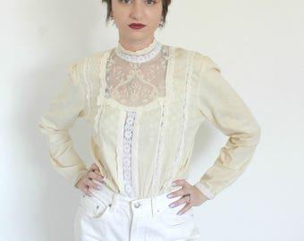 The Maeve Blouse | 1970s Prairie Blouse | Vintage 70s High Neck Sheer Lace Blouse | Medium M Large L