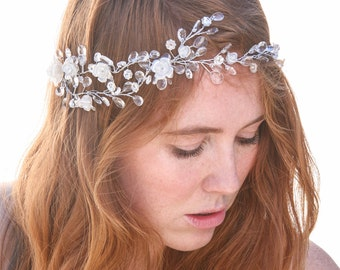 Beaded Wedding Hair Vine Hair Jewelry of Wired Crystals Rhinestones and Pearly Flowers Bridal Hair Accessory Beaded Tiara Crystal Headpiece