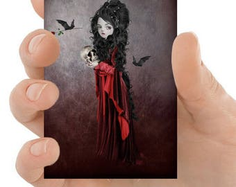 Gothic Aceo Card - Draculas Bride - Gothic Art - Artist Trading Card - Art Card - Vampire & Skull - Sorry