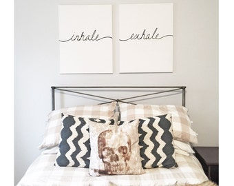 Inhale Exhale - Hand painted Canvas - bedroom painting decor home house dwell wall hanging decoration black white paint art work artwork