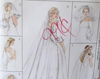 Wedding Veil Sewing Pattern McCall's 4126 Fashion Bridal Accessories, 6 Veil Styles -  Wreath Veil, Long  or Short Styles Size 4 - 10 UNCUT