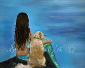 "Mermaid Art Print Mermaid Painting Golden Retriever Art Lab Art Mermaid Theme Dog Art  Decor ""MERMAIDS LOYAL BUDDY"" Leslie Allen Fine Art"