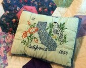 California State Pillow, Handmade, Re-purposed from Recycled Vintage Quilt Block, Rustic Farmhouse Cottage Decor, One of a Kind State Pillow
