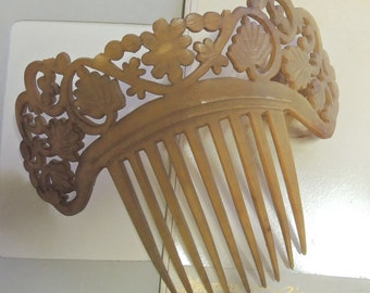 Antique Tortoise Shell Comb - Genuine Victorian Mantilla Comb - Extremely Rare