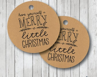 Have Yourself a Merry Little Christmas Tags, Kraft Christmas Tags