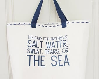 Saltwater Quote Tote Bag - Handbag - Beach Bag - Lined Tote with Pocket - MADE TO ORDER