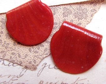 vintage handmade glass beads - deep red tab shaped drop charm beads - unusual - one pair