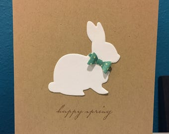 Handmade Greeting Card Happy Spring White Easter Bunny Bow Tie