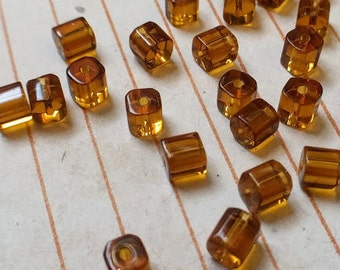 40 glass cube beads, amber, 4mm