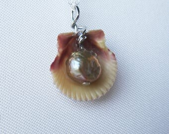 One of a Kind Sterling Silver Seashell and Pearl Necklace - OOAK Mermaid Gift - Beach Ocean Jewelry