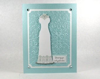 Bridal shower cards, wedding cards, Congratulations to the bride, wedding gown, wedding dress, blue