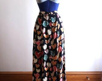 90s heart pattern rayon skirt sz. Small / Medium