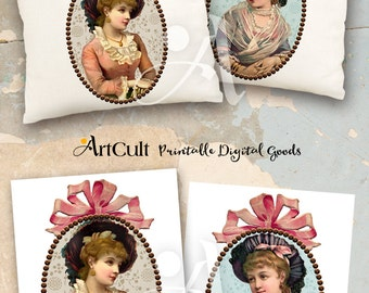 Printable Downloads ROMANTIC LADIES Two Digital Images to print on fabric / paper, Iron On Transfer for tote bags pillows Home Decor