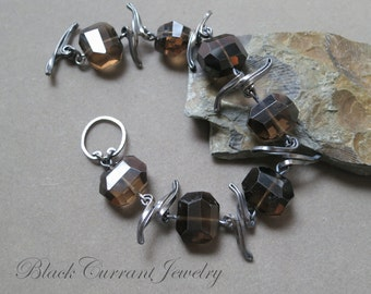 Smoky Quartz and Dark Sterling Silver Bracelet