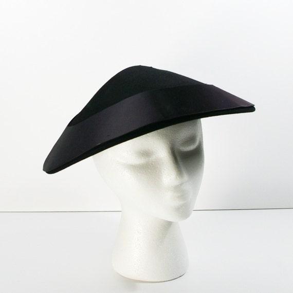 Coolie Hat: Vintage Black Pagoda Hat Black Felt Coolie Hat With Black