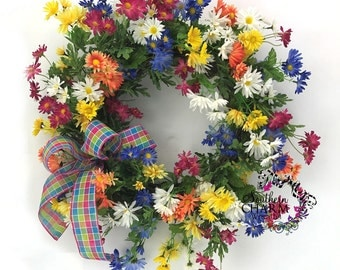 Spring Daisy Wreath, Spring Wreaths for Front Door, Spring Door Wreaths, Spring Wreathes, Summer Wreath, Door Wreath Spring,