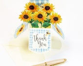 Mother's Day Card - Sunflower Pop Up Card - Happy Birthday Card - Happy Anniversary - Thank You Pop Up Card - Gift Card Holder - Bee