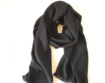 "Cashmere Scarf Handwoven Solid Black 20"" x 78"""