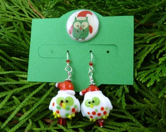 Christmas Owl Dangle Earrings.  On Handmade Earring Card. with My Handmade Button. White, Green, Red,  Glass or Lampwork Owl Earrings
