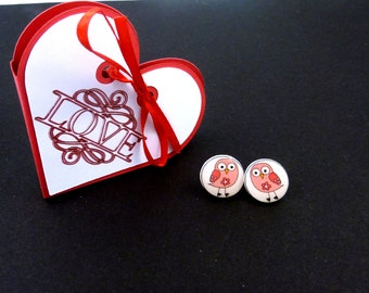 "Handmade Pink Bird Earrings and Handmade Love Heart Gift Box.    Post or Stud Earrings.  1/2"" or 13 mm round.  Valentine Gift."