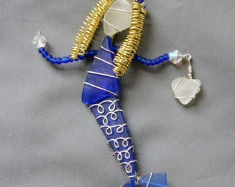 Cobalt Blue Sea Glass Mermaid Ornament