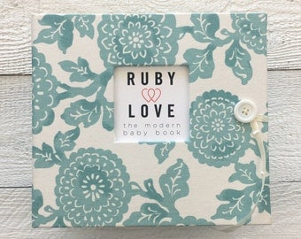 BABY BOOK | Modern Teal Mums Baby Book | Ruby Love Modern Baby Memory Book