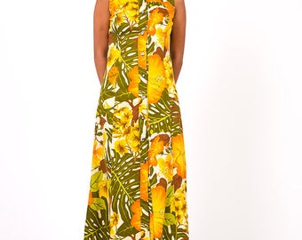The Vintage Long Sleeveless Tropical Monstera Leaf Hibiscus Collared Dress