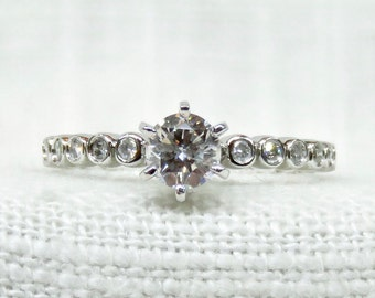 RESERVED For Richard Sizing on Vintage Diamond Engagement Ring in 14k White Gold .75 Carats; Vintage Diamond Ring; Promise Ring