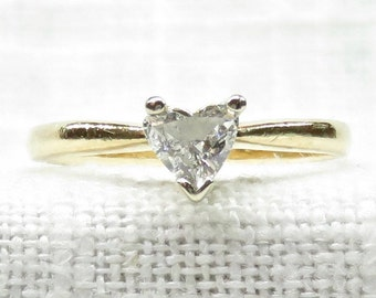 Vintage Sweetheart 14k Gold Diamond Engagement or Promise Ring .30 Carats
