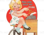 1940's Girl Typing Valentine PNG No Background and JPG Digital Download vintage card holiday girl fashion girl cute girl image red heart