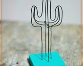 Wire Saguaro  Cactus Sculpture with Wood base