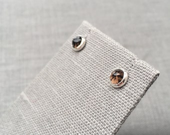 Smoky Quartz Earrings - Smoky Quartz Studs - Rose Cut Earrings - Natural Earrings - Brunette Earrings - Modern Silver Earrings - Minimalist