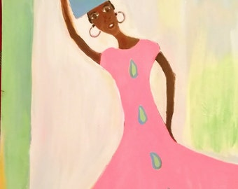 African woman art ,Afrikaans basket,african American art,black woman painting,pink dress,girls art,woman carrying basket,pink dress,