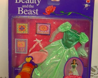 1992 Disney's Beauty and the Beast Belle Library fashion outfit Dress Books Basket