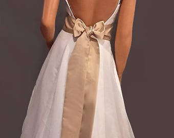 Satin wedding sash bridal belt prom evening pageant tie bridesmaid belt SSH100 AVL IN champagne and 18 other colors CHOOSE Length & Width