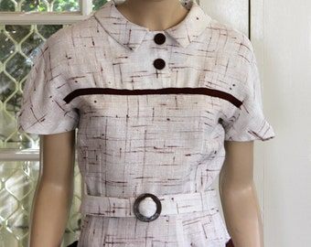 1950's style reproduction short sleeve dress.  Vintage linen fabric