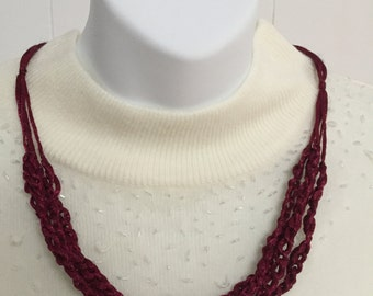 Chain Crochet Necklace in a Satin Cranberry Color Yarn -  length is adjustable