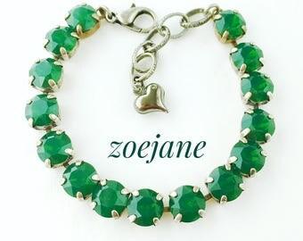 Swarovski Crystal Green Opal Rhinestone Tennis Bracelet, Big Stone Looks, Rhinestone Bracelet, Gifts