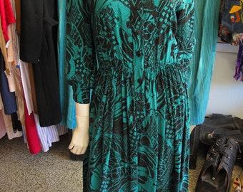 Vintage 80s Jean-Louis Scherrer Jade Green & Black Abstract Print Silk Dress sz 4/6