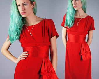 50s Red Dress Teena Paige Dress Wool Dress with Satin Sash Wiggle Dress