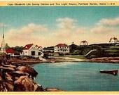 Vintage Maine Postcard - Cape Elizabeth Two Lights and Life Saving Station (Unused)