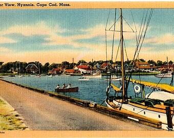 Vintage Cape Cod Postcard - Hyannis Harbor (Unused)