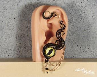 Dragon eye black and brass ear wrap - crystal seampunk no piecing ear cuff - evil eye gothic jewelry
